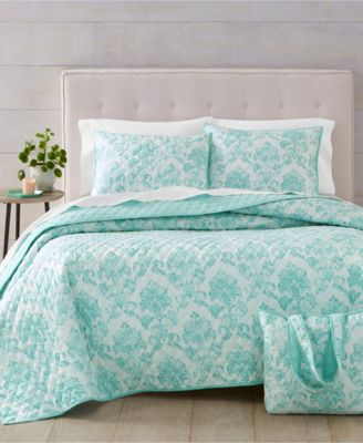 Distressed Damask 3-Pc. Twin/Twin XL Quilt and Tote Bag Set, Created for Macy's