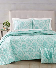 Martha Stewart Essentials Distressed Damask Quilt and Tote Bag Sets, Created for Macy's