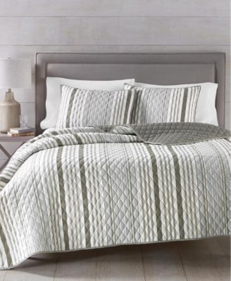 Martha Stewart Collection Essentials Stripe 3-Pc. Twin Quilt and Tote Bag Set, Created for Macy's