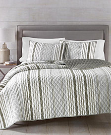Martha Stewart Essentials Stripe 4-Pc. King Quilt and Tote Bag Set, Created for Macy's
