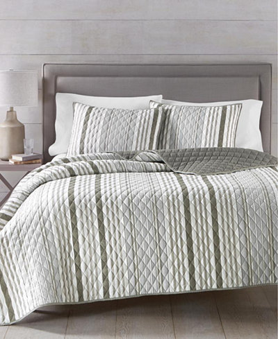 Martha Stewart Essentials Stripe Quilt and Tote Bag Sets, Created for Macy's