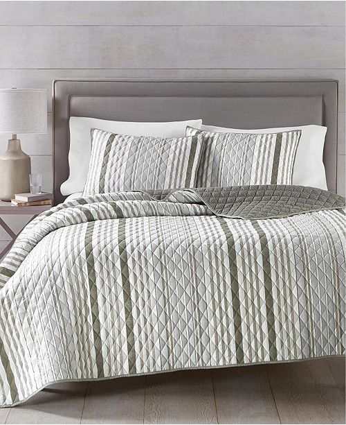 Martha Stewart Collection Martha Stewart Collection Essentials Stripe 3-Pc. Twin Quilt and Tote Bag Set, Created for Macy's