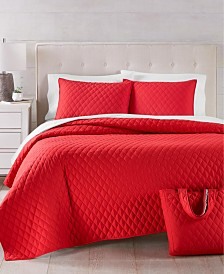 Martha Stewart Essentials Solid Quilt and Tote Bags Sets, Created for Macy's