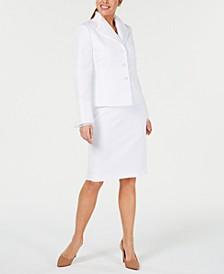Petite Chiffon-Trim Jacquard Skirt Suit