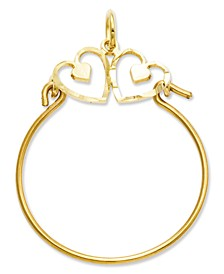 14k Gold Charm Holder, Heart Charm Holder