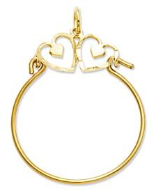 14k Gold Charm Holder, Heart Charm Holder