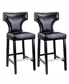 Bar Height Barstool in Metal Stud Bonded Leather, Set of 2