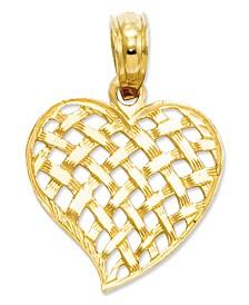 14k Gold Charm, Basket Weave Heart Charm