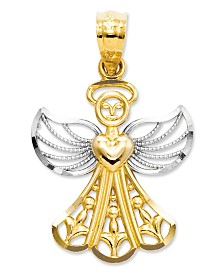 14k Gold and Sterling Silver Charm, Filigree Angel Charm