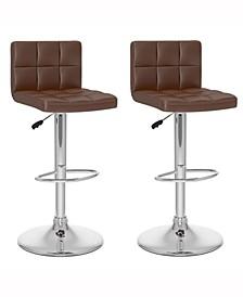 Mid Back Square Panel Adjustable Barstool in Leatherette, Set of 2