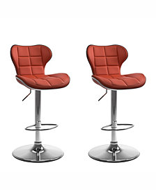 Corliving Adjustable Chrome Accented Barstool in Bonded Leather, Set of 2