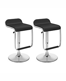 Adjustable Barstool with Footrest in Leatherette, Set of 2