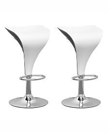 Corliving Two Toned Leatherette Adjustable Barstool in Leatherette, Set of 2