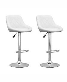 Corliving Diamond Back Adjustable Barstool in Leatherette, Set of 2