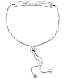 """""""Love"""" Arrow Bolo Bracelet in Sterling Silver"""