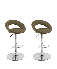 Corliving Round Open Back Fabric Adjustable Barstool, Set of 2