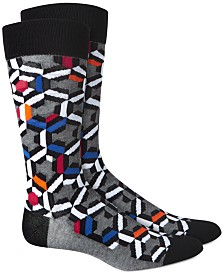 AlfaTech by Alfani Men's Patchwork Multi Geo Dress Socks, Created for Macy's