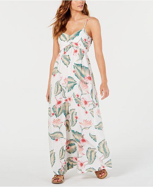 Roxy Juniors' Floral-Print Open-Back Maxi Dress