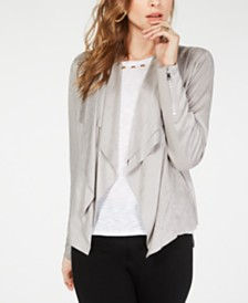I.N.C. Faux-Suede Double-Layer Drape-Front Jacket, Created for Macy's
