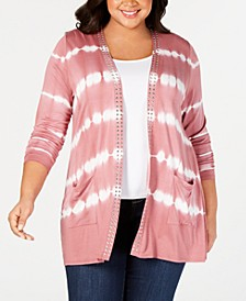 Black Label Plus Size Tie-Dyed Striped Open-Front Cardigan