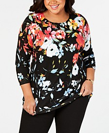 Plus Size Floral-Print Sweater
