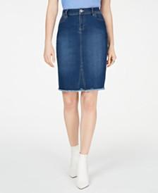 I.N.C. Petite Raw-Edge Jean Skirt, Created for Macy's