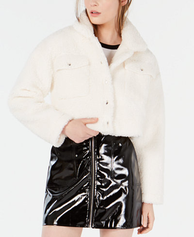Waisted Cropped Faux-Shearling Jacket