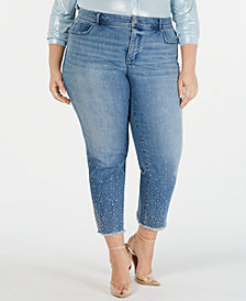 I.N.C. Plus Size Allover-Rhinestone Straight-Leg Ankle Jeans, Created for Macy's