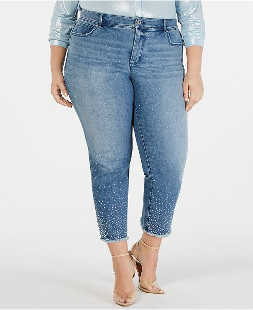 INC International Concepts I.N.C. Plus Size Allover-Rhinestone Straight-Leg Ankle Jeans, Created for Macy's