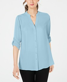 Alfani Petite Split-Neck Button-Front Top, Created for Macy's