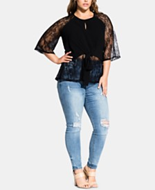 City Chic Trendy Plus Size Lace-Sleeve Top
