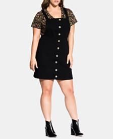 City Chic Trendy Plus Size Overall Mini Dress