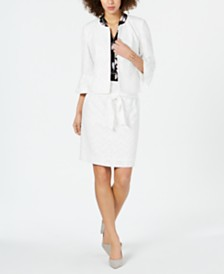 Nine West Ruffle-Sleeve Jacket, Printed Top & Belted Skirt