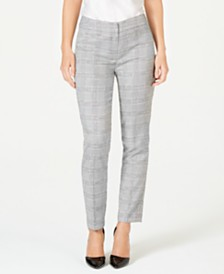Nine West Plaid Straight-Leg Pants