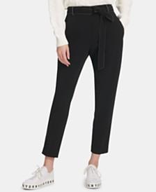 DKNY Tie-Waist Straight-Leg Pants