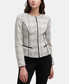 DKNY Printed Zip-Up Jacket With Faux-Leather Trim