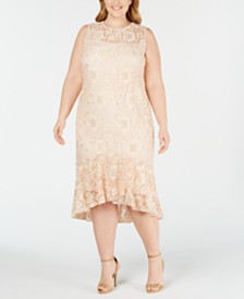 Calvin Klein Plus Size Lace High-Low Midi Dress