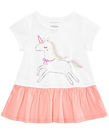First Impressions Baby Girls Unicorn-Print Peplum Top, Created for Macy's