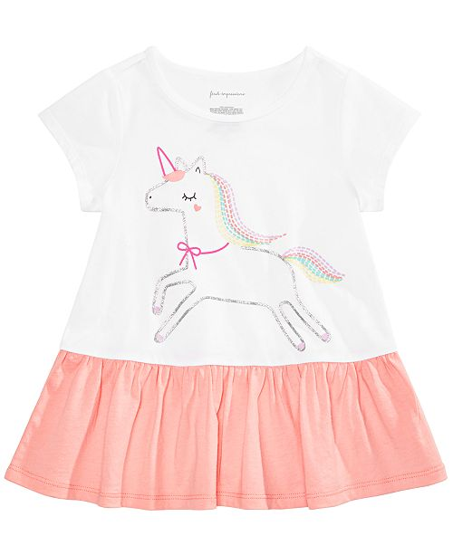 First Impressions Baby Girls Unicorn-Print Peplum Top, Created for Macy's