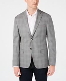 Calvin Klein Men's Slim-Fit Silver & Blue Plaid Sport Coat
