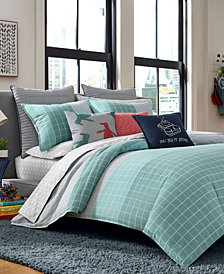 Original Penguin Vaughn Teal Twin Comforter Set