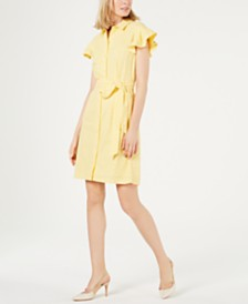Calvin Klein Eyelet Flutter-Sleeve Shirtdress