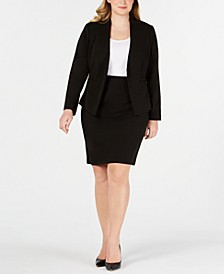 Plus Size Asymmetrical Jacket & Pencil Skirt