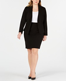 Calvin Klein Plus Size Asymmetrical Jacket & Pencil Skirt