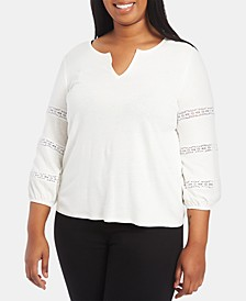 Plus Size Lace-Inset Top