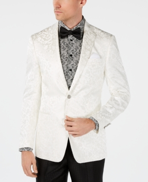 1960s Mens Suits | 70s Mens Disco Suits Tallia Orange Mens Slim-Fit White Dragon Jacquard Dinner Jacket $59.99 AT vintagedancer.com