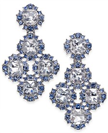 Charter Club Silver-Tone Crystal Flower Cluster Drop Earrings, Created for Macy's