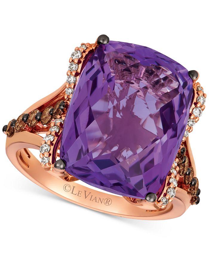 Le Vian - Grape Amethyst (9-3/4 ct. t.w.) & Diamond (5/8 ct. t.w.) Ring in 14k Rose Gold