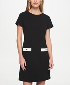Tommy Hilfiger Petite Scuba Crepe Two Pocket A-Line Dress