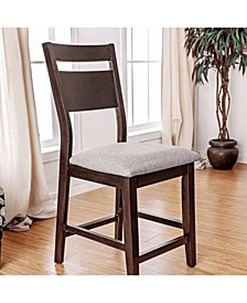 Wooden Counter Height Chair with Gray Seat, Pack of 2